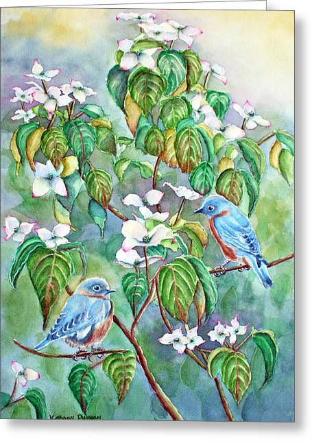 Bluebird Greeting Cards - Wild Blues in White Dogwood Greeting Card by Kathryn Duncan