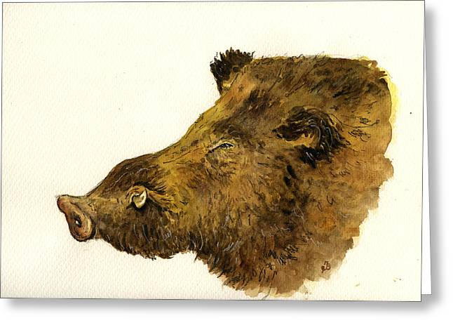 Boars Greeting Cards - Wild boar head study Greeting Card by Juan  Bosco