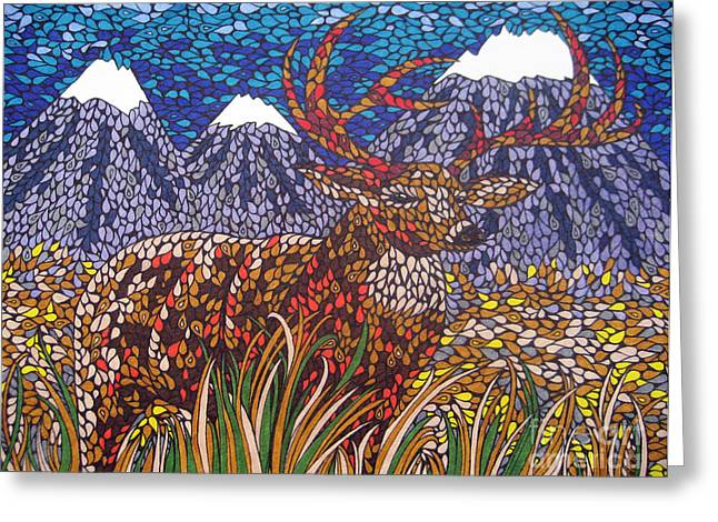 Wild Life Drawings Greeting Cards - Wild Buck Greeting Card by Andrea Barrett