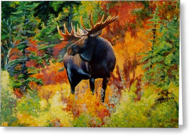 Pause Greeting Cards - Wild Bull Moose Greeting Card by Nicolas Bouteneff