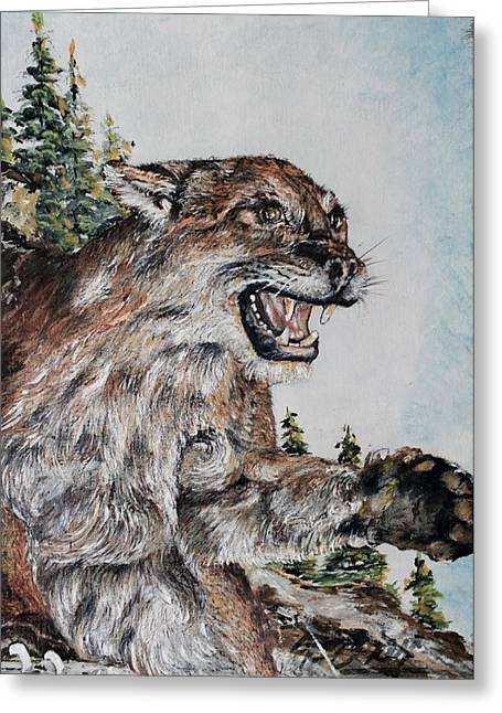 Growling Greeting Cards - Wild Cat Greeting Card by Martin Way