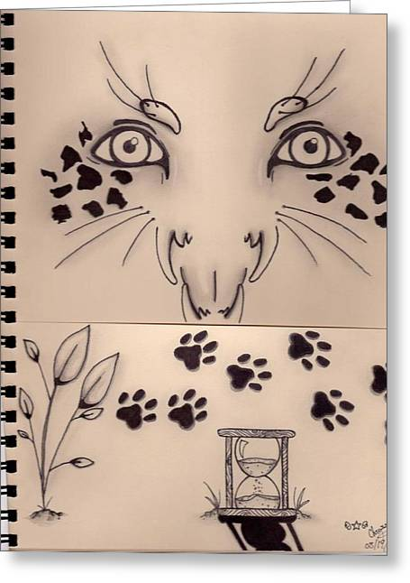Cat Paw Print Greeting Cards - Wild Cat Sketch Greeting Card by Chrystene Anderson