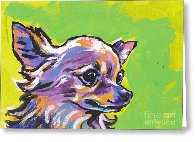 Chihuahua Portraits Greeting Cards - Wild Chi Greeting Card by Lea