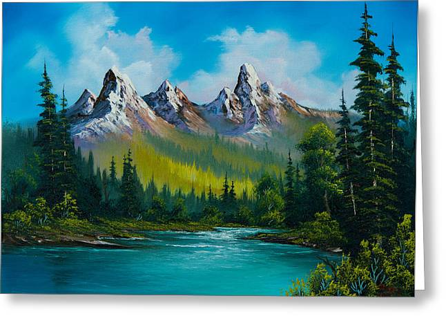 Bob Ross Paintings Greeting Cards - Wild Country  Greeting Card by C Steele
