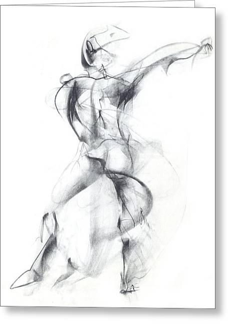 Best Sellers -  - Ballet Dancers Drawings Greeting Cards - Wild Dancer Greeting Card by Christopher Williams