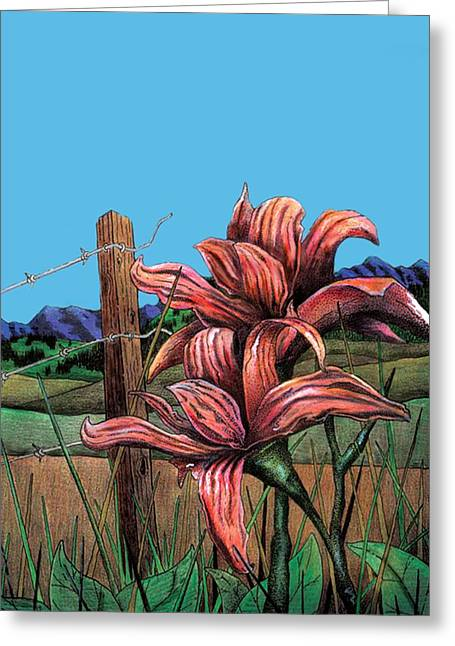 Barbed Wire Fences Mixed Media Greeting Cards - Wild Day Lily Greeting Card by Brian Murphy