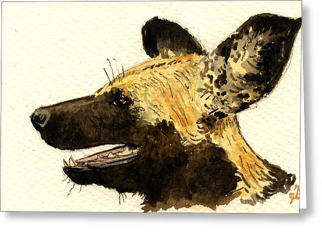 Wild Dogs Greeting Cards - Wild dog Lycaon Greeting Card by Juan  Bosco