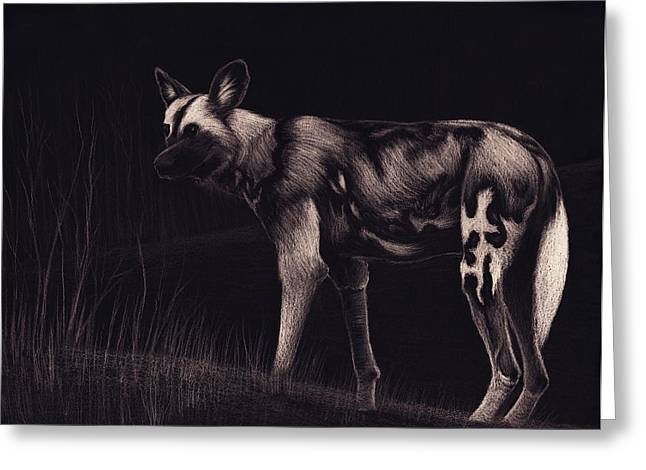 African Pastels Greeting Cards - Wild Dog Greeting Card by Sesh Artwork