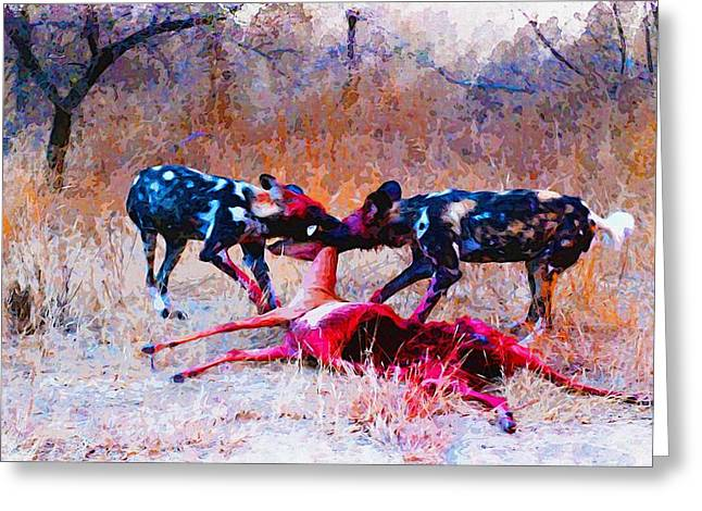 Elephant Seals Digital Greeting Cards - Wild Dogs Dinner Greeting Card by Don Kuing