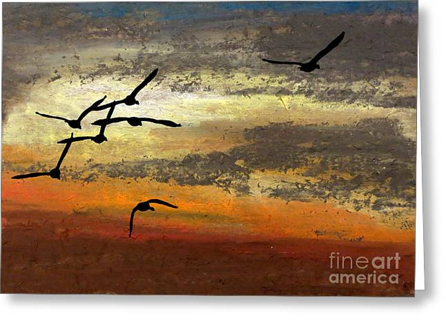 Hunting Bird Pastels Greeting Cards - Wild Escape Greeting Card by R Kyllo