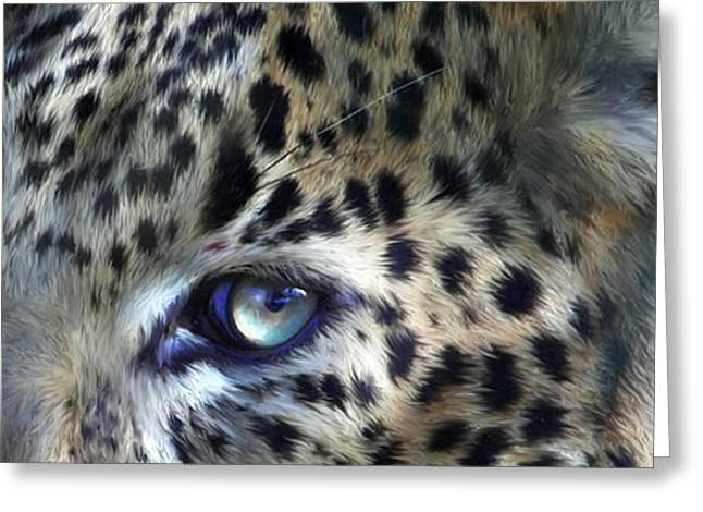 Leopard Print Greeting Cards - Wild Eyes - Leopard Moon Greeting Card by Carol Cavalaris