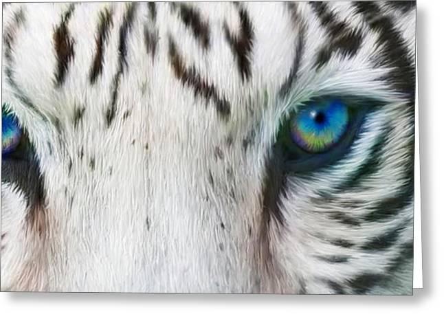 Tiger Print Greeting Cards - Wild Eyes - White Tiger Greeting Card by Carol Cavalaris