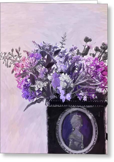 Interior Still Life Greeting Cards - Wild Flower Bouquet - Digital Pastel Greeting Card by Sandra Foster