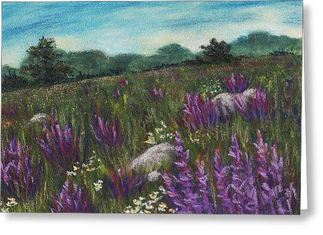 Rural Scene Pastels Greeting Cards - Wild Flower Field Greeting Card by Anastasiya Malakhova