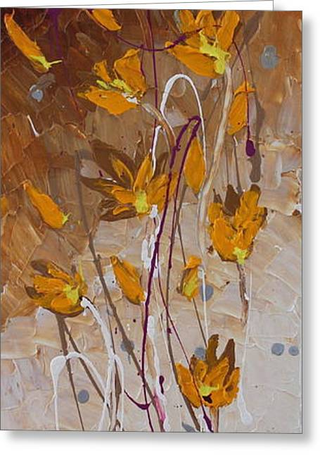 Abstract Beach Landscape Greeting Cards - Wild Flowers 2 Greeting Card by Preethi Mathialagan