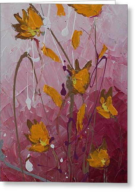 Abstract Beach Landscape Greeting Cards - Wild Flowers 3 Greeting Card by Preethi Mathialagan