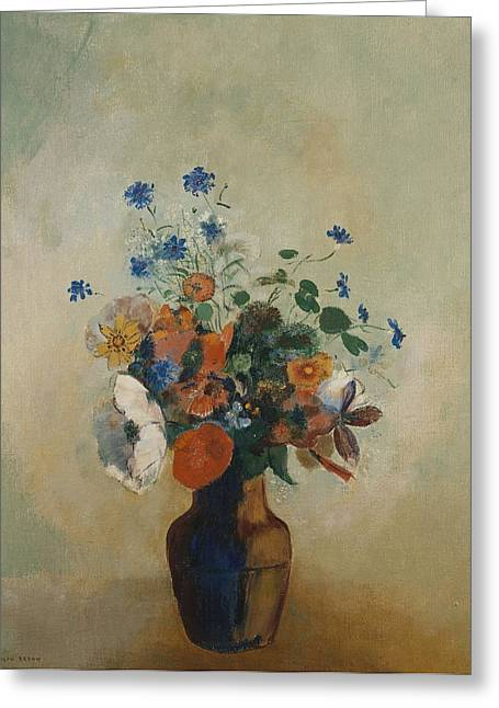 Flower Still Life Prints Greeting Cards - Wild Flowers Greeting Card by Odilon Redon