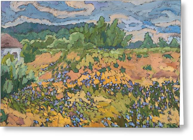 Violet Blue Greeting Cards - Wild Flowers on the Dyke Bank  Greeting Card by Marta Martonfi Benke