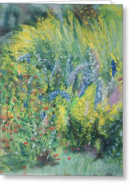 Delphinium Greeting Cards - Wild Flowers Pastel On Paper Greeting Card by Sophia Elliot