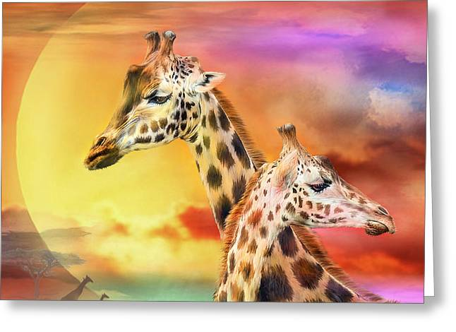 Giraffe Greeting Cards - Wild Generations - Giraffes  Greeting Card by Carol Cavalaris