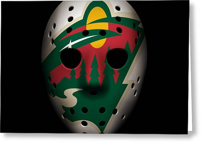 Skates Greeting Cards - Wild Goalie Mask Greeting Card by Joe Hamilton