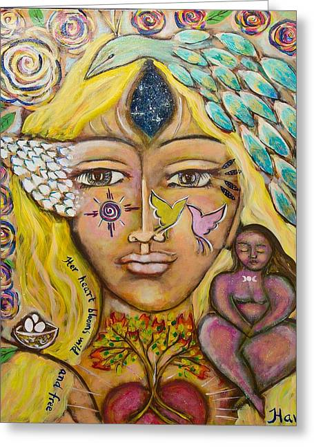 Contemporary Symbolism Greeting Cards - Wild Goddess Greeting Card by Havi Mandell