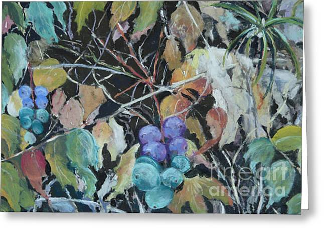 Grape Leaves Pastels Greeting Cards - Wild Grapes Greeting Card by Pat Siok