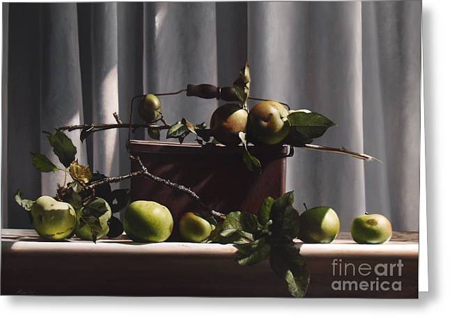 Apple Paintings Greeting Cards - Wild Green Apples Greeting Card by Larry Preston