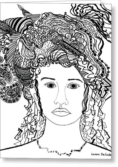 Geometric Artwork Drawings Greeting Cards - Wild Hair Portrait in Shapes and Lines Greeting Card by Lenora  De Lude