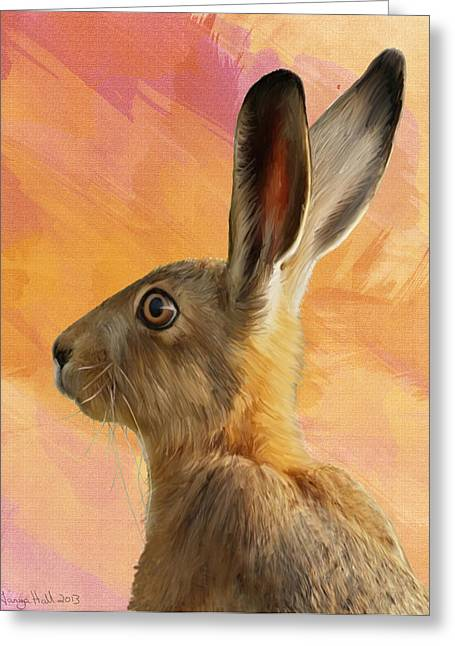 March Hare Greeting Cards - Wild Hare Greeting Card by Tanya Hall