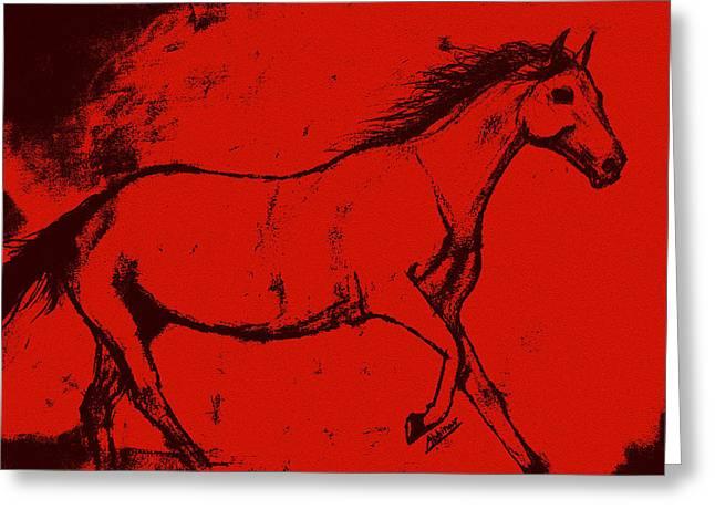 Abhinav Krishna Dwivedi Greeting Cards - Wild Horse Greeting Card by Abhinav Krishna Dwivedi