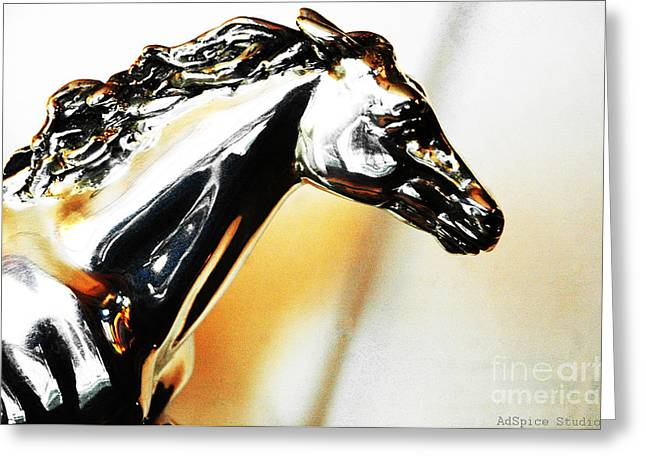 Wild Horses Mixed Media Greeting Cards - Wild Horse in Silver and Gold Greeting Card by AdSpice Studios