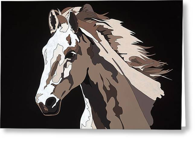 Farm Animal Abstracts Greeting Cards - Wild Horse with hidden pictures Greeting Card by Konni Jensen
