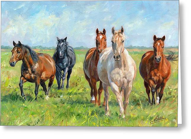 Equine Artist Equine Art Prints Greeting Cards - Wild Horses Greeting Card by David Stribbling