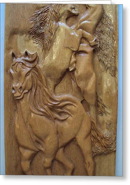 Horse Reliefs Greeting Cards - Wild Horses equine sculpture wood carving Greeting Card by Ton Dias