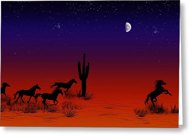 Late Pyrography Greeting Cards - Wild Horses Greeting Card by Leander Urmy