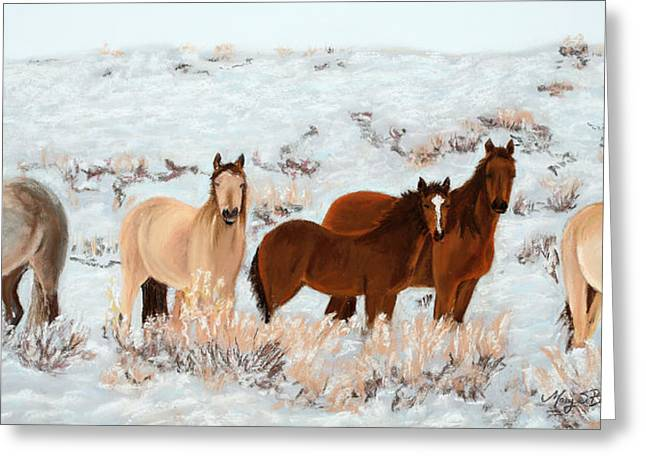 Winter Travel Pastels Greeting Cards - Wild Horses Greeting Card by Mary Benke