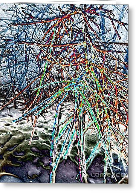 Color Enhanced Mixed Media Greeting Cards - Wild Ice Abstract Greeting Card by Minding My  Visions by Adri and Ray
