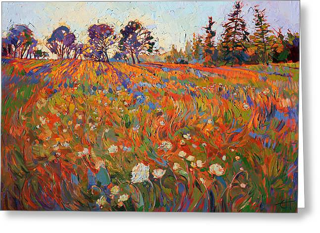 Fields Of Flowers Greeting Cards - Wild in Flower Greeting Card by Erin Hanson
