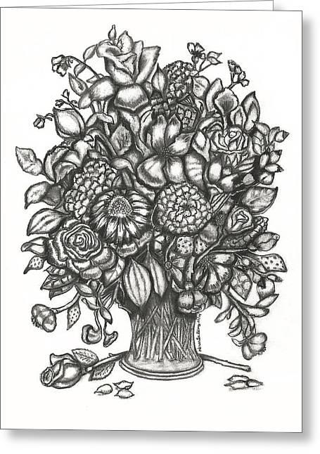 Vase Of Flowers Drawings Greeting Cards - Wild Iris Roses Greeting Card by Karen-Lee