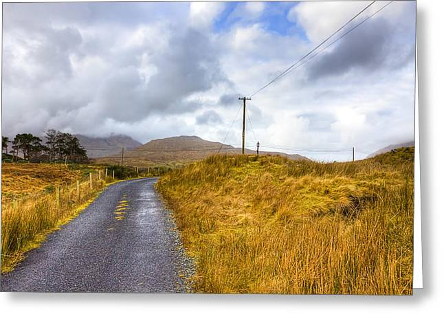 Winter Scenes Rural Scenes Greeting Cards - Wild Irish roads of Connemara Greeting Card by Mark Tisdale