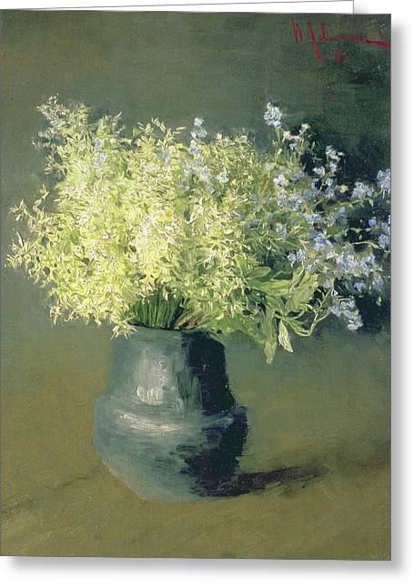 """forget Me Not"" Greeting Cards - Wild Lilacs and Forget Me Nots Greeting Card by Isaak Ilyich Levitan"