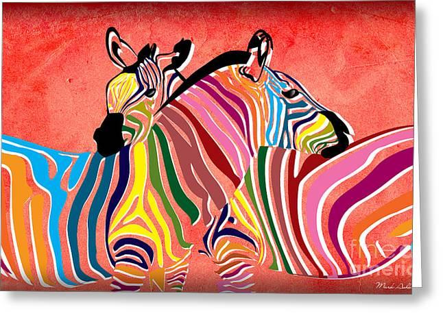 Beautiful Zebra Greeting Cards - Wild Love  Greeting Card by Mark Ashkenazi