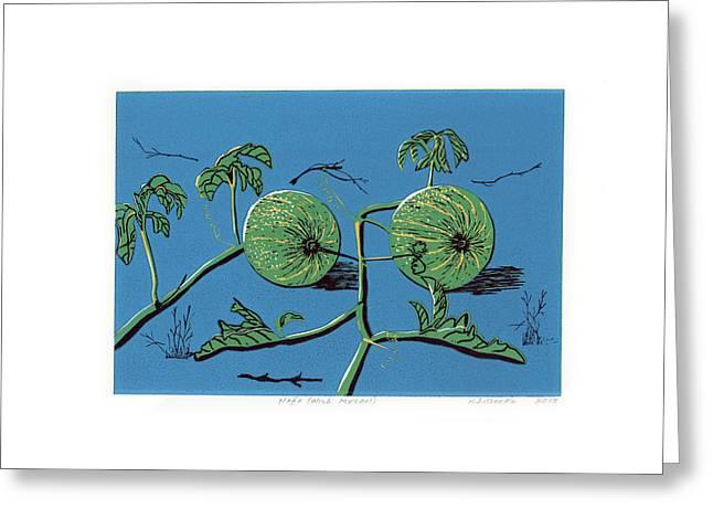 Linocut Paintings Greeting Cards - Wild Melon Greeting Card by N Ditsheko