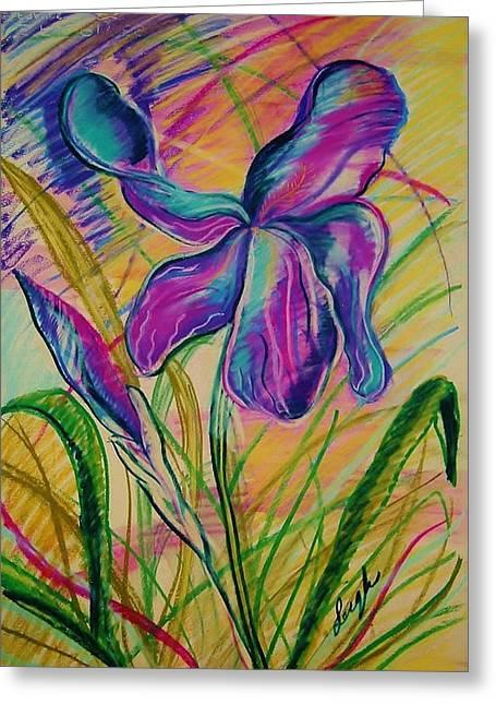 Iris Pastels Greeting Cards - Wild Mountain Iris Greeting Card by Sharon Leigh