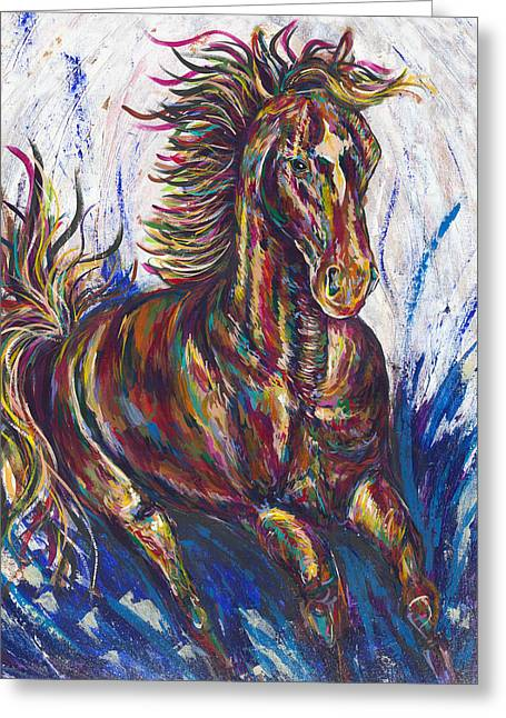 Love The Animal Greeting Cards - Wild Mustang Greeting Card by Lovejoy Creations