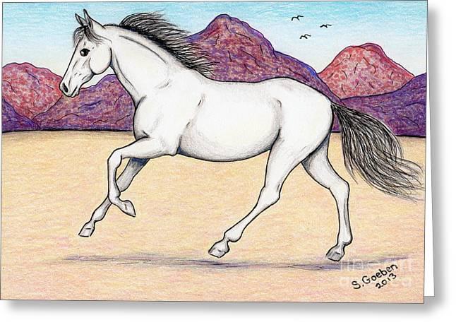 Prancing Bird Greeting Cards - Wild Mustang -- Running Free in the Desert Greeting Card by Sherry Goeben