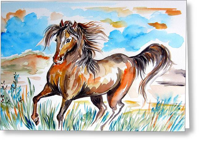 Roberto Mixed Media Greeting Cards - Wild Mustang Water Color Greeting Card by Roberto Gagliardi