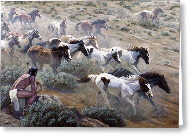 Furious Greeting Cards - Wild Mustangs Greeting Card by Gregory Perillo