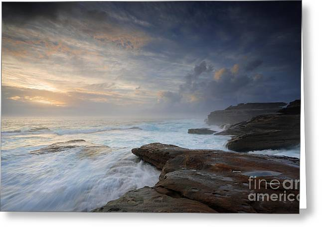 Turbulent Skies Greeting Cards - Wild ocean surges over steadfast rocks Greeting Card by Leah-Anne Thompson